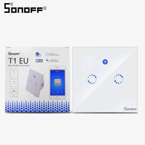 کلید دو پل هوشمند تاچ Sonoff T1 Eu 2 Gang
