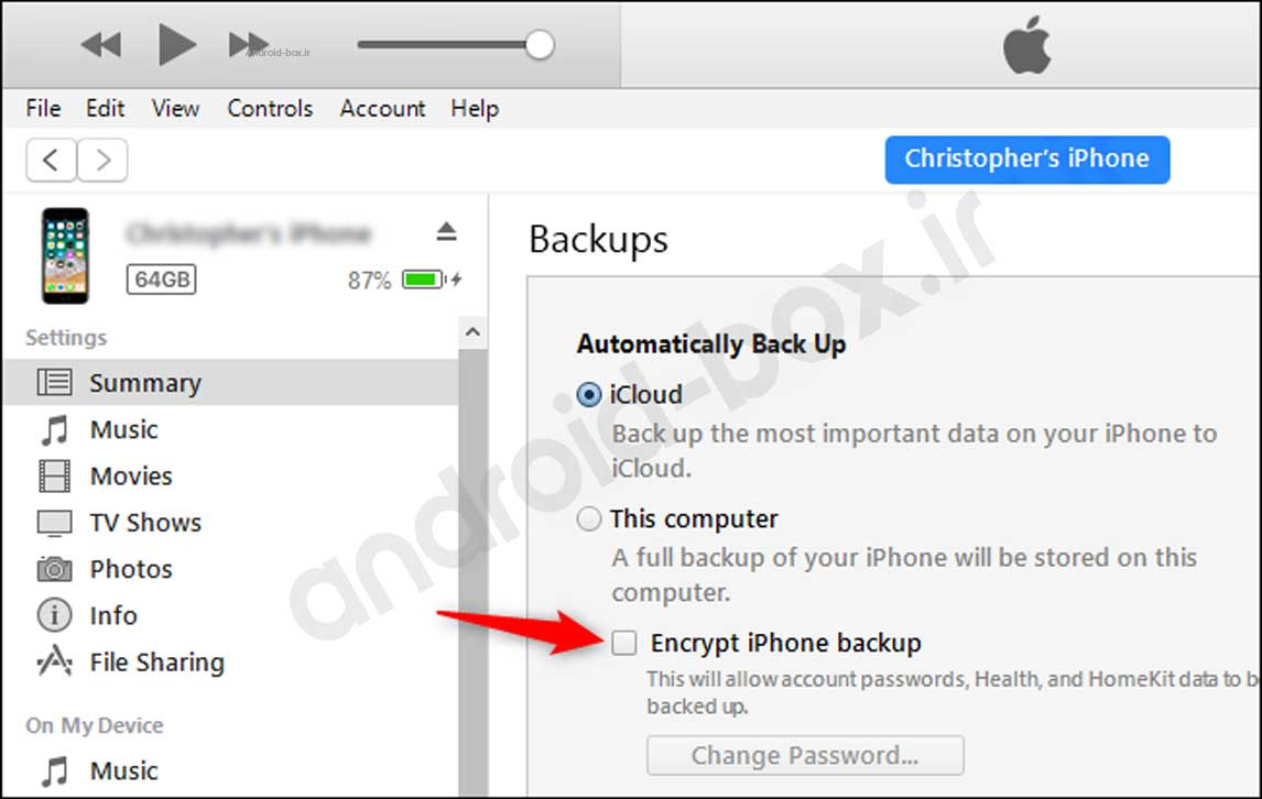 Active Encypt Backup On Itunes