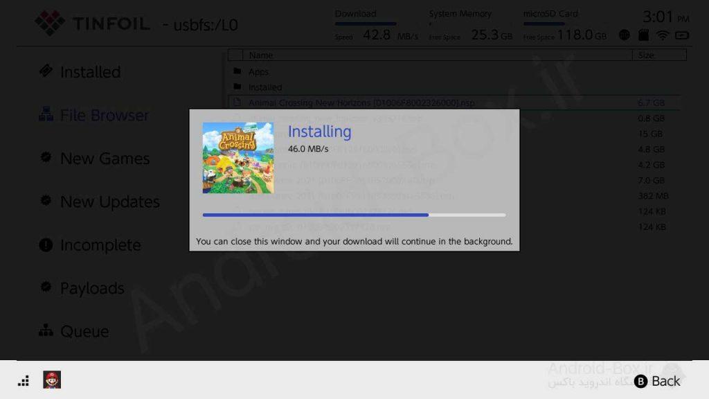 Nintendo Switch Tinfoil Installation Progress Bar